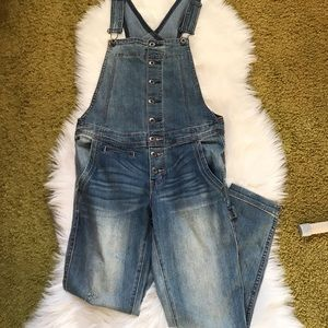 Free People Denim Button Front Overalls Size 27